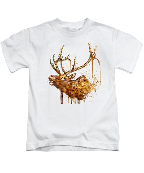 Elk In Watercolor Kids T-Shirt by Marian Voicu