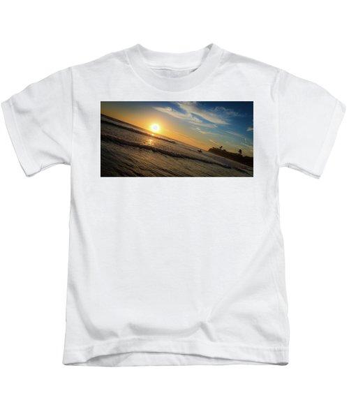 End Of Summer Sunset Surf Kids T-Shirt