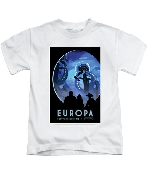 Europa Discover Life Under The Ice - Nasa Vintage Poster Kids T-Shirt