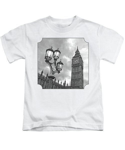 Evening Light At Big Ben In Black And White Kids T-Shirt by Gill Billington