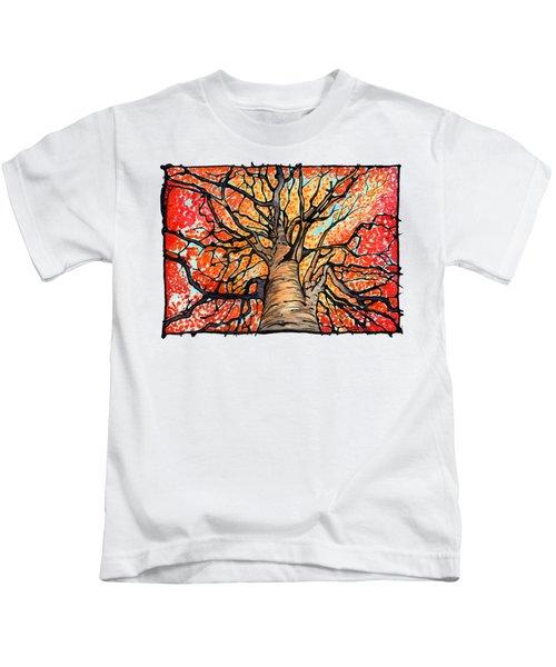 Fall Flush - Looking Up An Autumn Tree Kids T-Shirt