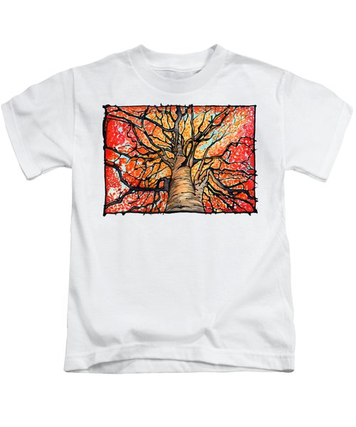 Fall Flush - Looking Up An Autumn Tree Kids T-Shirt