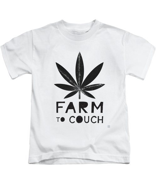 Farm To Couch Black And White- Cannabis Art By Linda Woods Kids T-Shirt