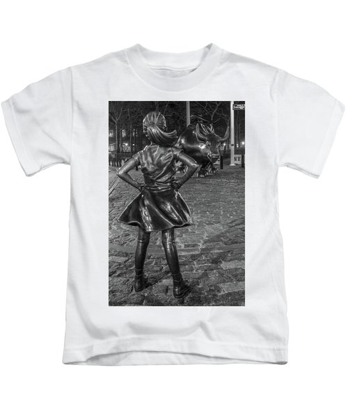 Fearless Girl And Charging Bull Nyc Kids T-Shirt