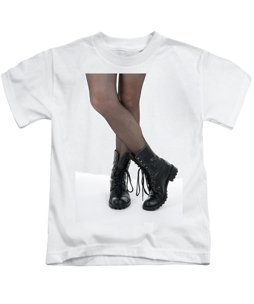 Female Legs In Pantyhose And Black Boots Kids T-Shirt