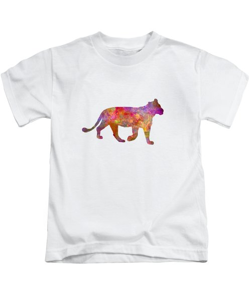 Female Lion 01 In Watercolor Kids T-Shirt by Pablo Romero