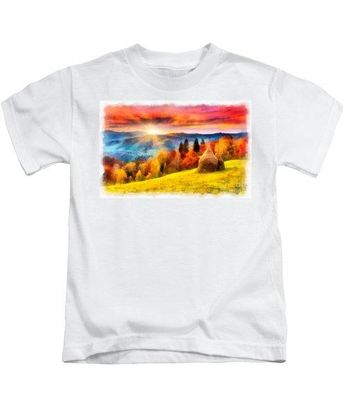 Field Of Autumn Haze Painting Kids T-Shirt