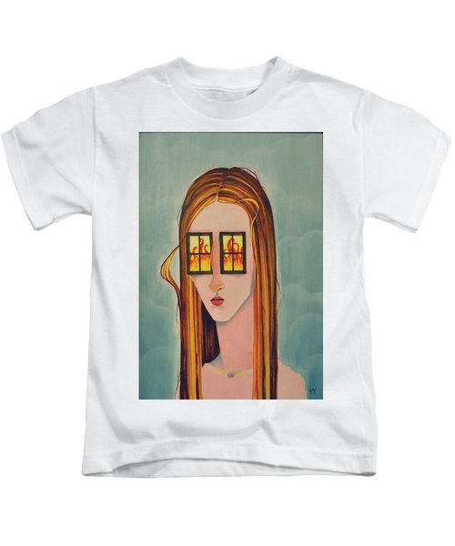 Fire In Her Eyes Kids T-Shirt