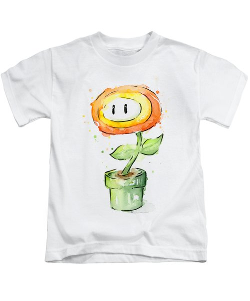 Fireflower Watercolor Painting Kids T-Shirt