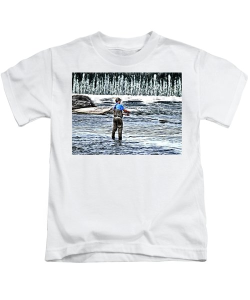 Fisherman On The River Kids T-Shirt
