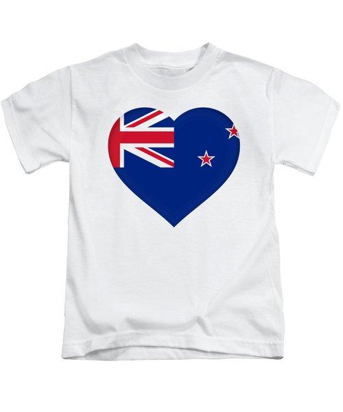 Flag Of New Zealand Heart Kids T-Shirt by Roy Pedersen