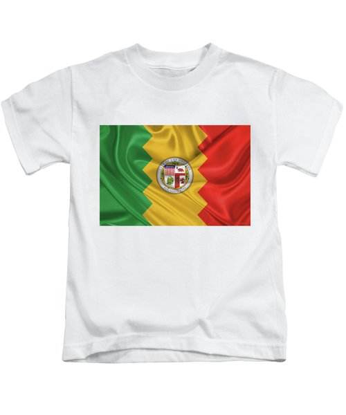 Flag Of The City Of Los Angeles Kids T-Shirt by Serge Averbukh