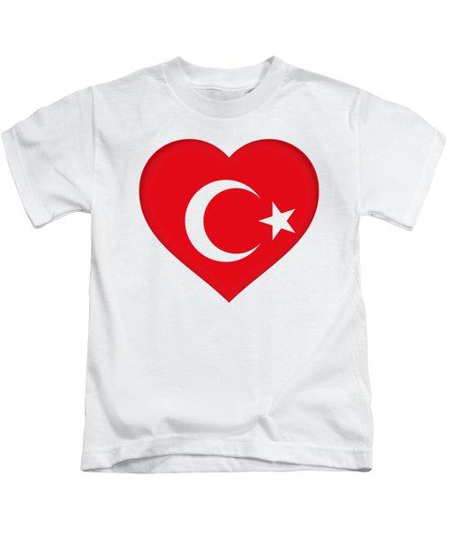 Flag Of Turkey Heart Kids T-Shirt by Roy Pedersen