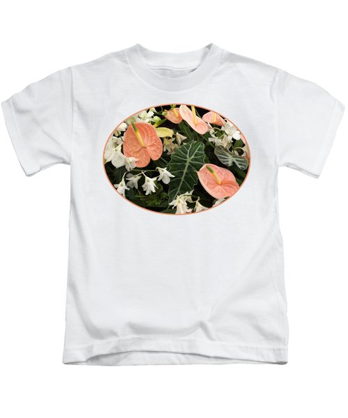 Flamingo Flowers And Orchids Kids T-Shirt