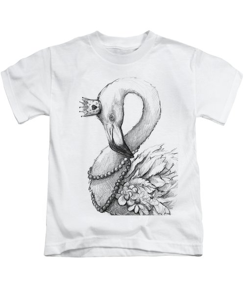 Flamingo In Pearl Necklace Kids T-Shirt