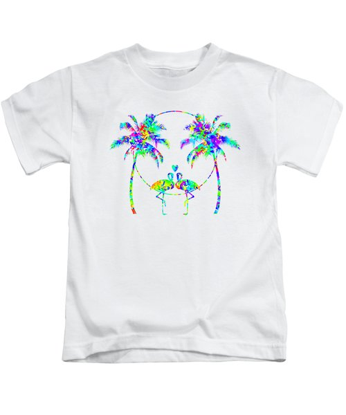 Flamingos In Love - Splatter Art Kids T-Shirt