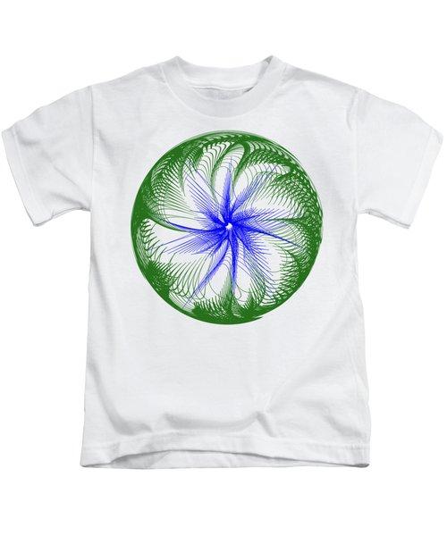 Floral Web - Green Blue By Kaye Menner Kids T-Shirt