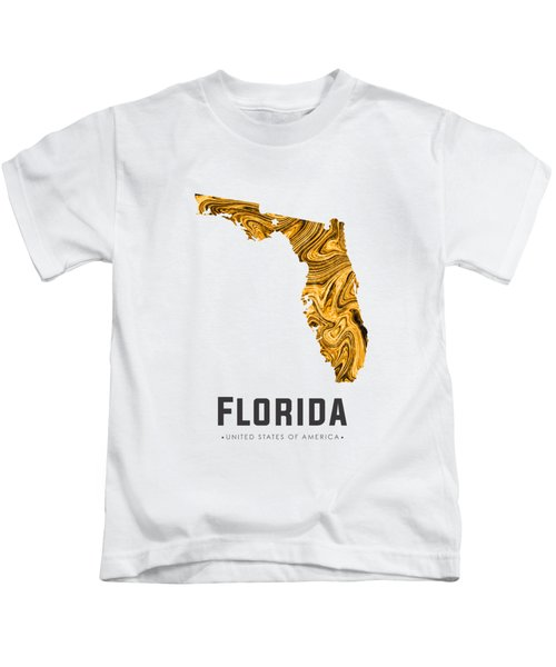 Florida Map Art Abstract In Yellow Gold Kids T-Shirt