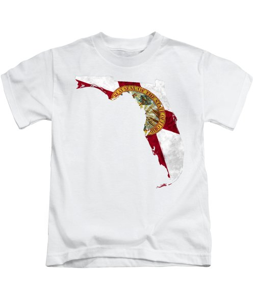 Florida Map Art With Flag Design Kids T-Shirt