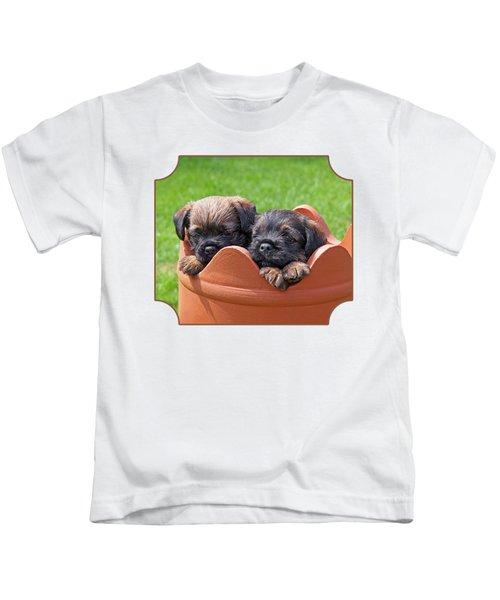 Flower Pot Puppies-border Terriers Kids T-Shirt