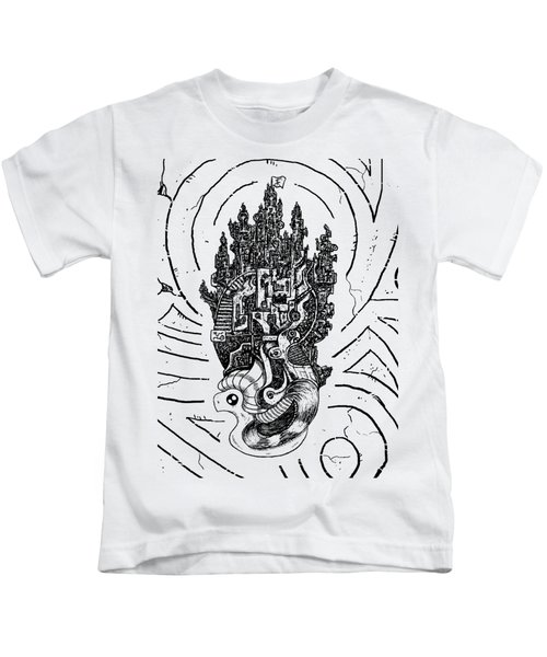 Flying Castle Kids T-Shirt by Sotuland Art
