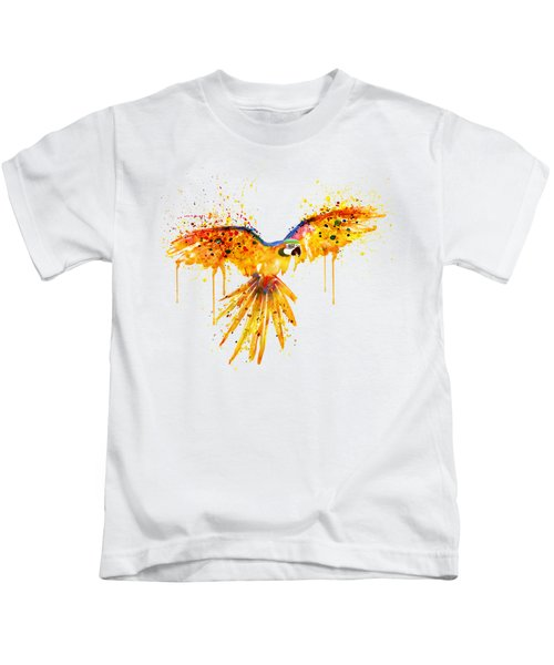 Flying Parrot Watercolor Kids T-Shirt by Marian Voicu