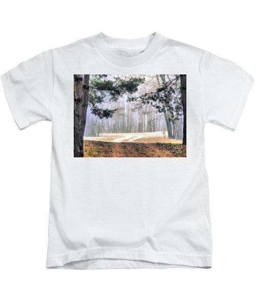 Foggy Autumn Landscape Kids T-Shirt