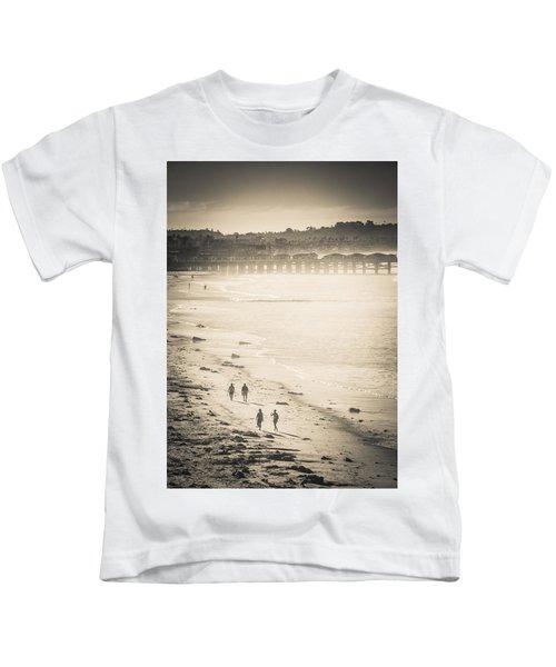Foggy Beach Walk Kids T-Shirt
