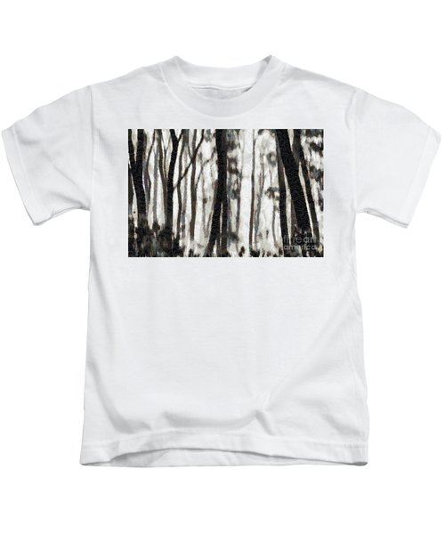 Foggy Forest Tree Paint Kids T-Shirt