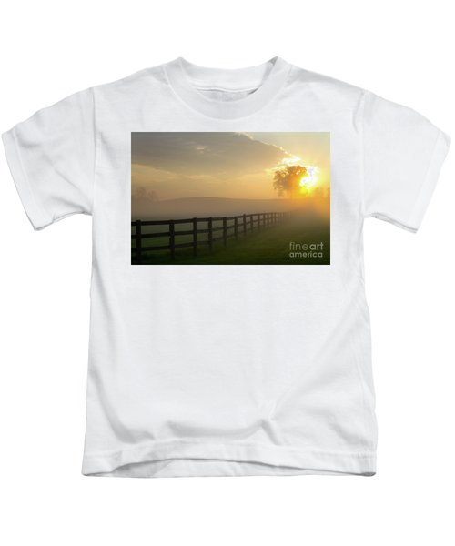 Foggy Pasture Sunrise Kids T-Shirt