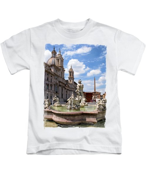 Fontana Del Moro.rome Kids T-Shirt by Jennie Breeze
