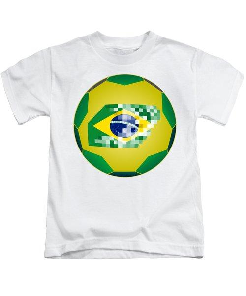 Football Ball With Brazil Flag Kids T-Shirt