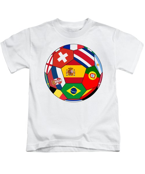 Football Ball With Various Flags Kids T-Shirt