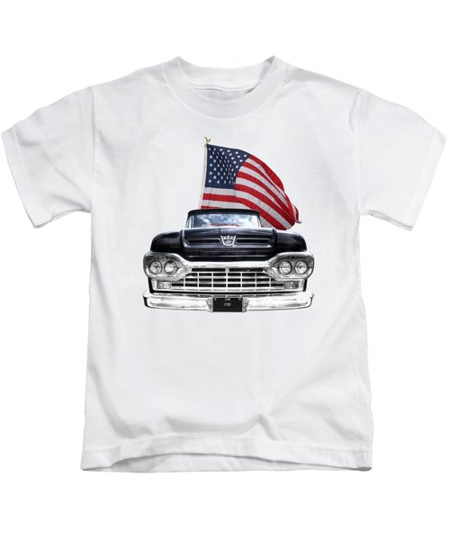 Ford F100 With U.s.flag On Black Kids T-Shirt