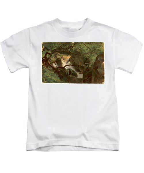 Forest Interior With A Waterfall Papigno Kids T-Shirt