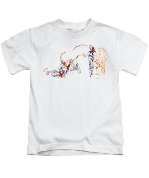 Forever Amber - Tattoed Nude Kids T-Shirt by Carolyn Weltman