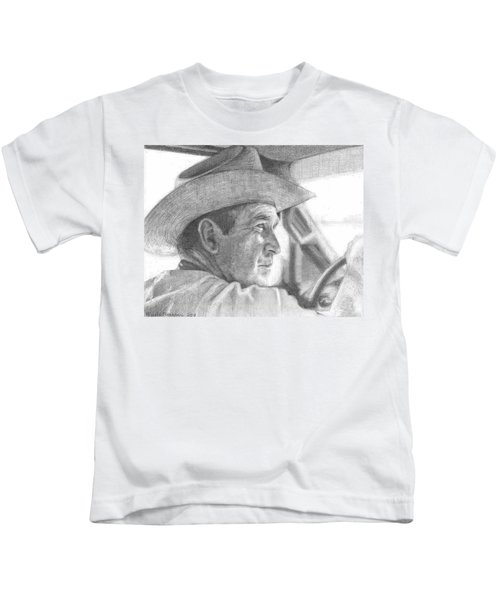 Former Pres. George W. Bush Wearing A Cowboy Hat Kids T-Shirt by Michelle Flanagan