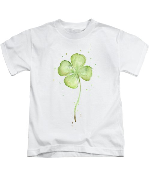 Four Leaf Clover Lucky Charm Kids T-Shirt by Olga Shvartsur