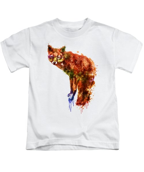 Foxy Lady Watercolor Kids T-Shirt by Marian Voicu