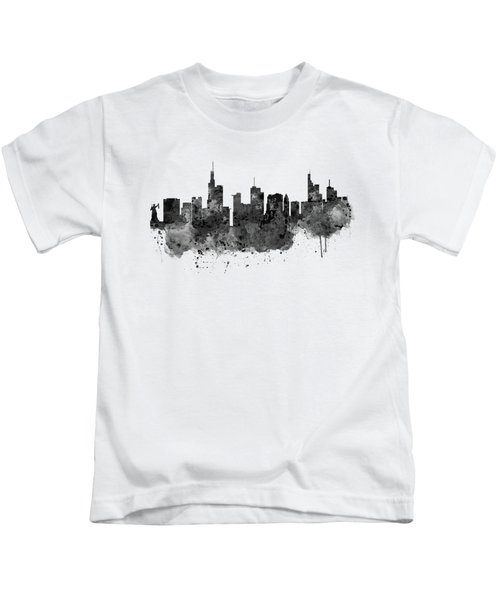 Frankfurt Black And White Skyline Kids T-Shirt by Marian Voicu
