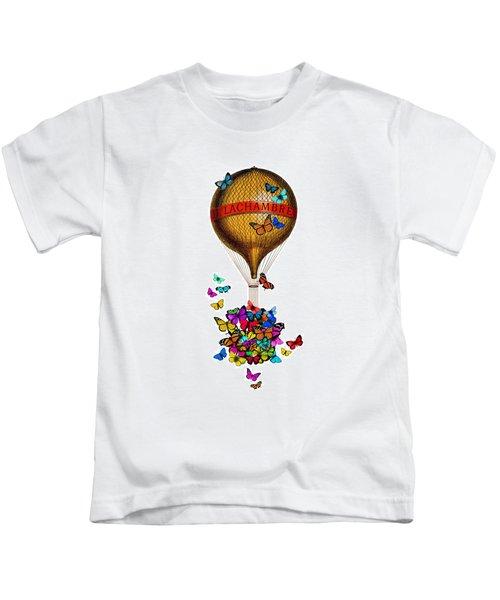 French Hot Air Balloon With Rainbow Butterflies Basket Kids T-Shirt