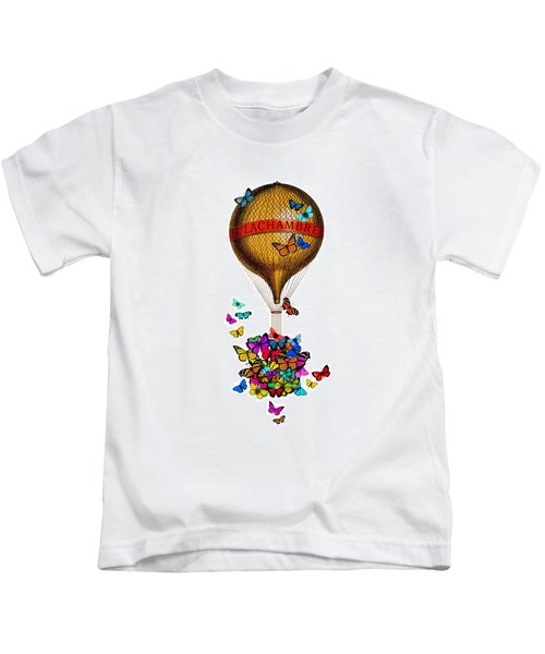 French Hot Air Balloon With Rainbow Butterflies Basket Kids T-Shirt