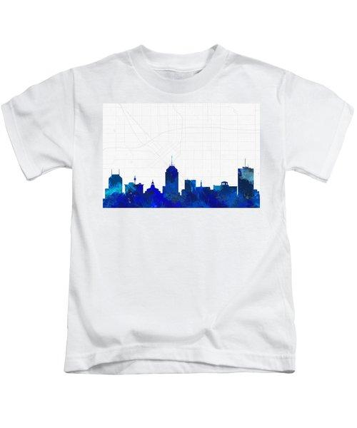 Fresno Cityscape And Streetmap Blue Skyline Kids T-Shirt