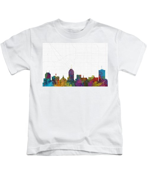 Fresno Cityscape And Streetmap Skyline Kids T-Shirt