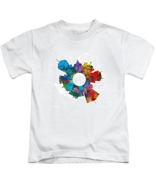 Fresno Small World Cityscape Skyline Abstract Kids T-Shirt