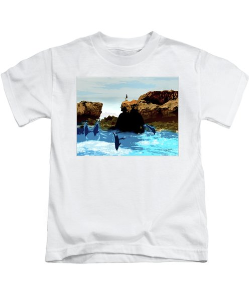 Friends With Dolphins In Colour Kids T-Shirt