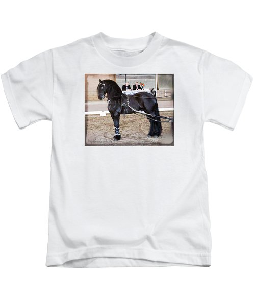 Friesian Stallion Under Harness Kids T-Shirt