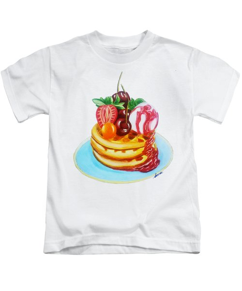 Fruity Waffles Served With Ice Cream And Strawberry Sauce Kids T-Shirt by Sonja Taljaard