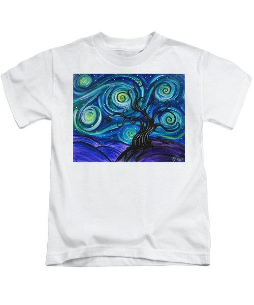 Funky Tree, Starry Night Kids T-Shirt