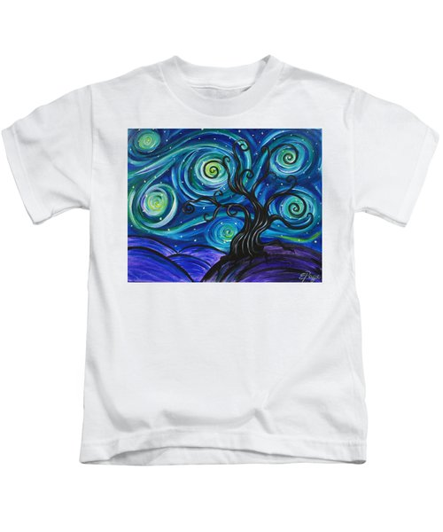Funky Tree, Starry Night Kids T-Shirt